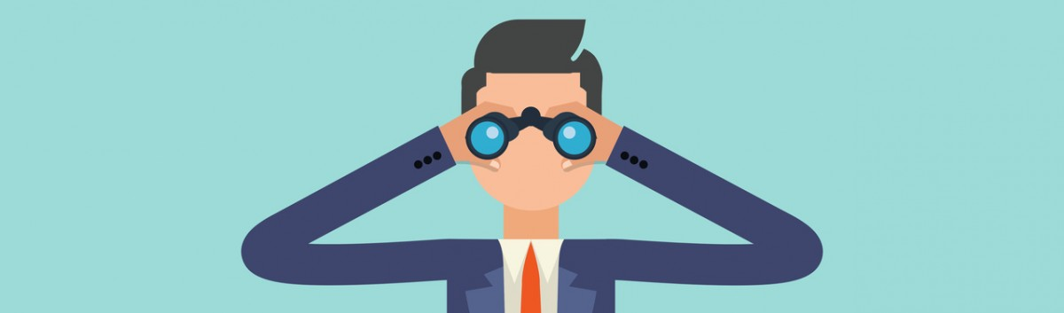 Man viewing through binoculars. Quality design illustration, elements and concept.