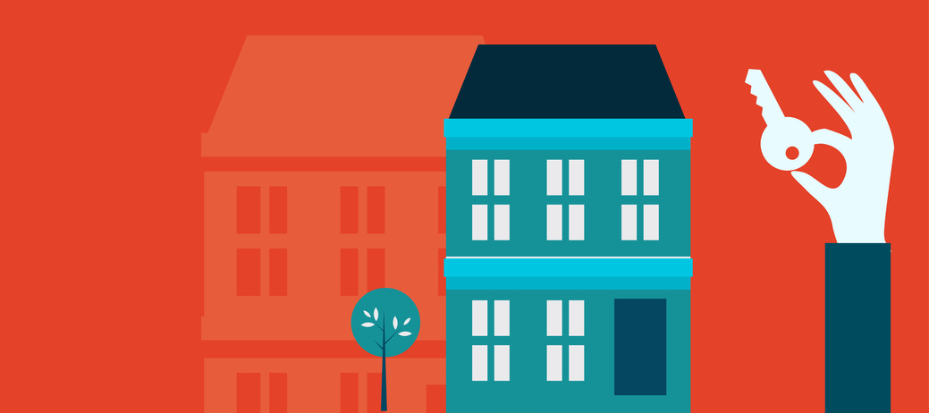 Vector real estate concept in flat style - hand holding a key of property